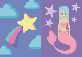 cute siren with rainbow and star