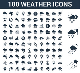 100 weather universal icons set with Shooting star, Rainy, Snow, Snowy, Placeholder, Cloudy