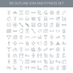 100 GYM and fitness outline icons set such as Muscles linear, Ju