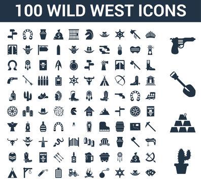 100 Wild West universal icons set with Cactus, Ingots, Shovel, Gun, Indian, Cowboy hat, Sheriff, Bomb, Bonfire, Locomotive