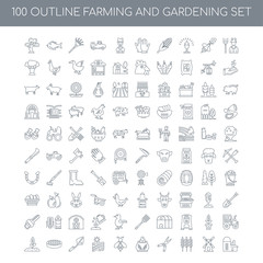 100 Farming and gardening outline icons set such as Farmer linea