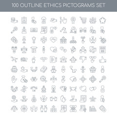 100 ethics pictograms outline icons set such as Star linear, Kno