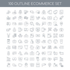 100 ecommerce outline icons set such as Gallery linear, Cash reg