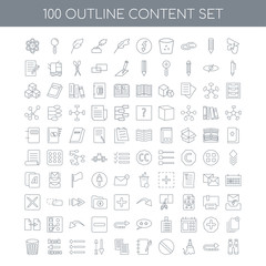 100 content outline icons set such as Send linear, Reply Clear B