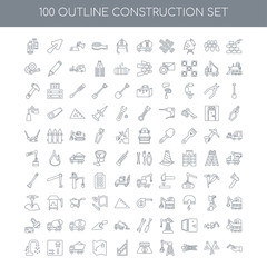 100 construction outline icons set such as Constructing a Brick