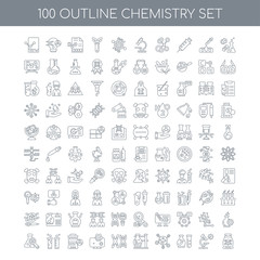 100 chemistry outline icons set such as Cell division linear, Mi