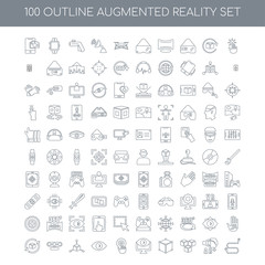 100 Augmented Reality outline icons set such as Interactivity li