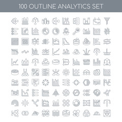 100 Analytics outline icons set such as Funnel linear, Speedomet