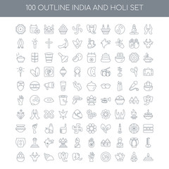 100 India and Holi outline icons set such as,