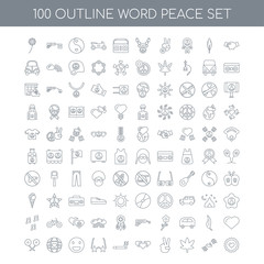 100 word peace outline icons set such as Handshake linear, Dove