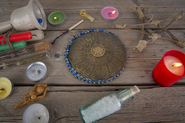 Magical instruments and ingredients on the table