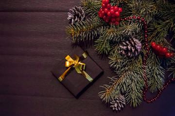 christmas decoration on black background