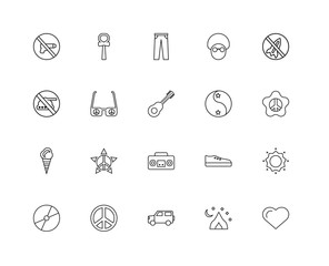 Collection of 20 word peace linear icons such as Ice cream, Hear