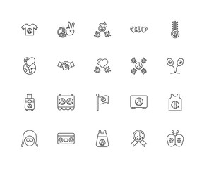 Collection of 20 word peace linear icons such as Suitcase, Butte