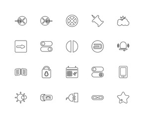 Collection of 20 user interface signs linear icons such as Open