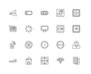 Collection of 20 user interface signs linear icons such as Elimi