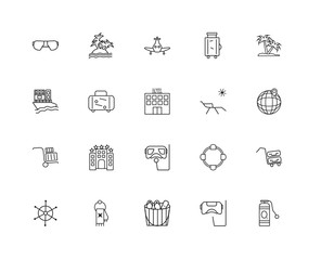 Collection of 20 travel linear icons such as Trolley, Oxygen tan