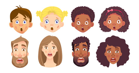 emotions of human face set