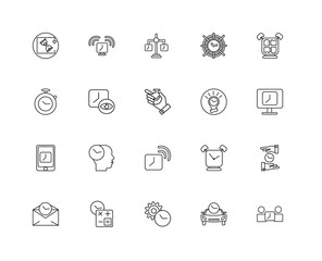 Collection of 20 Time Management linear icons such as Smartphone