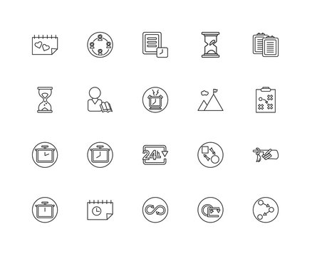 Collection of 20 Time Management linear icons such as Chronomete
