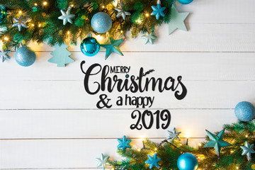 Turquoise Balls, Merry Christmas And A Happy 2019, Fairy Lights