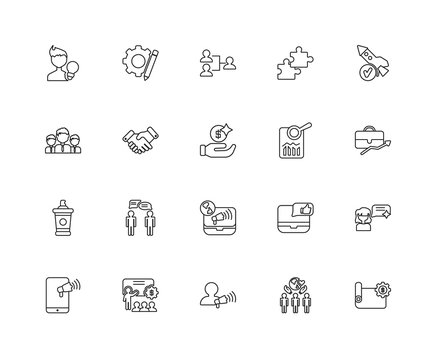 Collection of 20 Strategy linear icons such as Sample, Strategy,