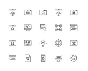 Collection of 20 programming linear icons such as Browser, Open