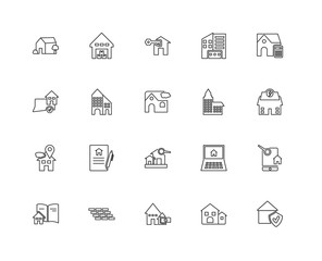 Collection of 20 Real estate linear icons such as Placeholder, G
