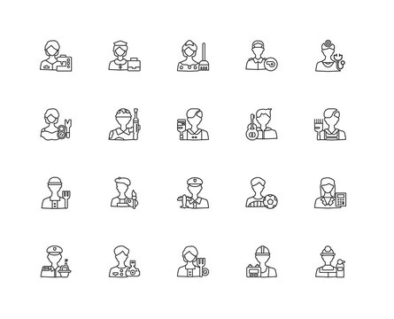 Collection of 20 Professions Jobs linear icons such as Fire exti