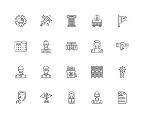 Collection of 20 Political linear icons such as Waiter, Ballot,