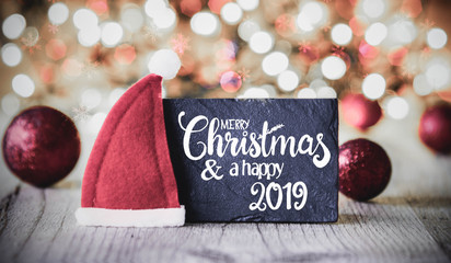 Plate, Calligraphy Merry Christmas And A Happy 2019, Santa Hat