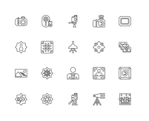 Collection of 20 Photography linear icons such as Noise, Illumin