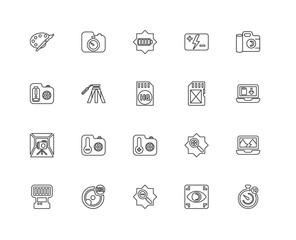 Collection of 20 Photography linear icons such as Light box, Tim