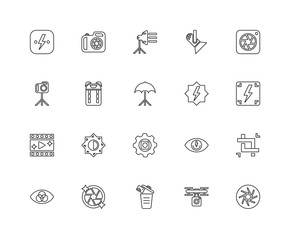 Collection of 20 Photography linear icons such as Play video, Ap