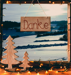 Window, Calligraphy Danke Means Thank You, Snow