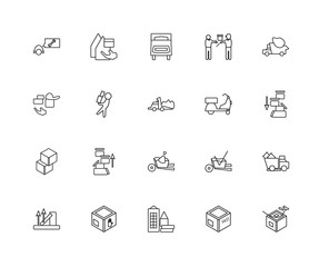 Collection of 20 Packing and Delivery linear icons such as Fast