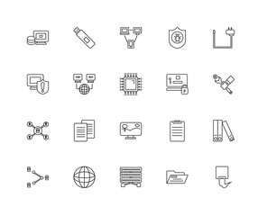 Collection of 20 networking linear icons such as Network, Ethern