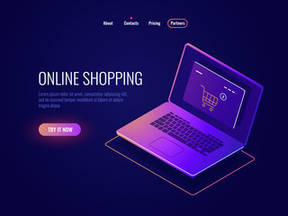 Online internet shopping isometric icon, website purchase, laptop with online shop page, laptop dark neon