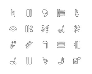 Collection of 20 music and media linear icons such as Beam, Thir