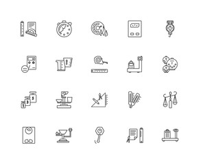 Collection of 20 Measurement linear icons such as Calibration, C