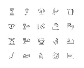 Collection of 20 Measurement linear icons such as Line Graphic,