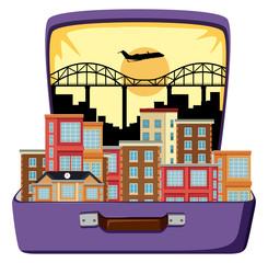 Urban city on suitcase