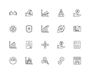 Collection of 20 Marketing linear icons such as Growth, Enterpri