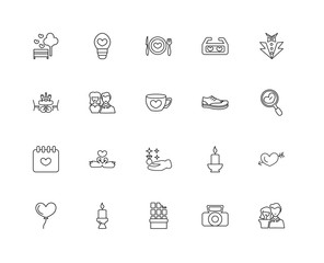 Collection of 20 love wedding linear icons such as Date, Dating,