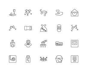 Collection of 20 love wedding linear icons such as Camera, Card,