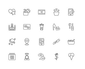 Collection of 20 love wedding linear icons such as Night, Ice cr