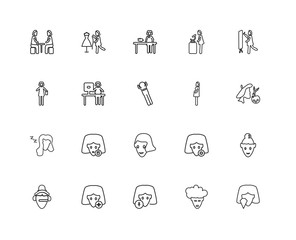 Collection of 20 Ladies linear icons such as Women Beauty, Pregn