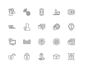 Collection of 20 Internet security linear icons such as Computer