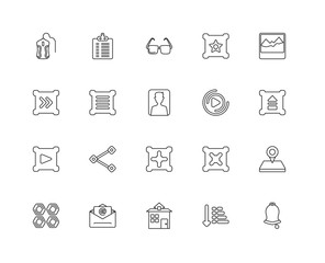 Collection of 20 Interface linear icons such as Play button, Bel