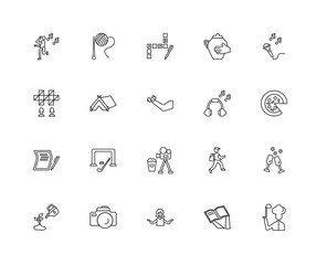Collection of 20 hobbies linear icons such as Writing, Cooking,